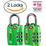 TSA Bright Color Locks 2 Pack - Open Alert Indicator, Alloy Body with Easy Read Dials and 3-Digit Combination