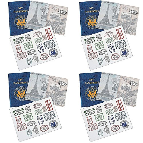 (Kicko 24 Passports Sticker Book, Fake Passport Sticker Books - for School Projects, Social Studies, Pretend Play, Toy, Classroom Activities, Scrapbooking, Prize)
