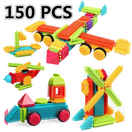 Bristle Building Blocks Toys Set, ihoven 150 PCS Educational 3D Bristle Building Tiles Blocks Toy Kit for Kids Bristle Construction Stacking Shapes Setfor Boys and Toddlers - In Delicate Gift Box