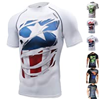 Khroom Manches Courtes Homme Compression T-Shirt - Super-Héros: Hulk, Superman, Capitaine Amérique, Batman, Ironman, Spiderman, Panthère Noire - Idéal pour Fitness, Gym, Musculation