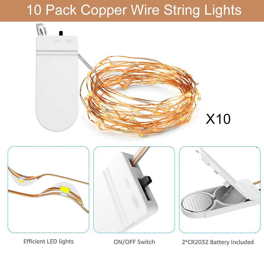 AUOTO Led Fairy Lights, 20 Packs 2m 20 LEDs Battery Operated Copper Wire String Lights Warm White, for Home Garden Wedding Party Christmas Halloween Concerts Bars Hotels Indoor Outdoor Decorations