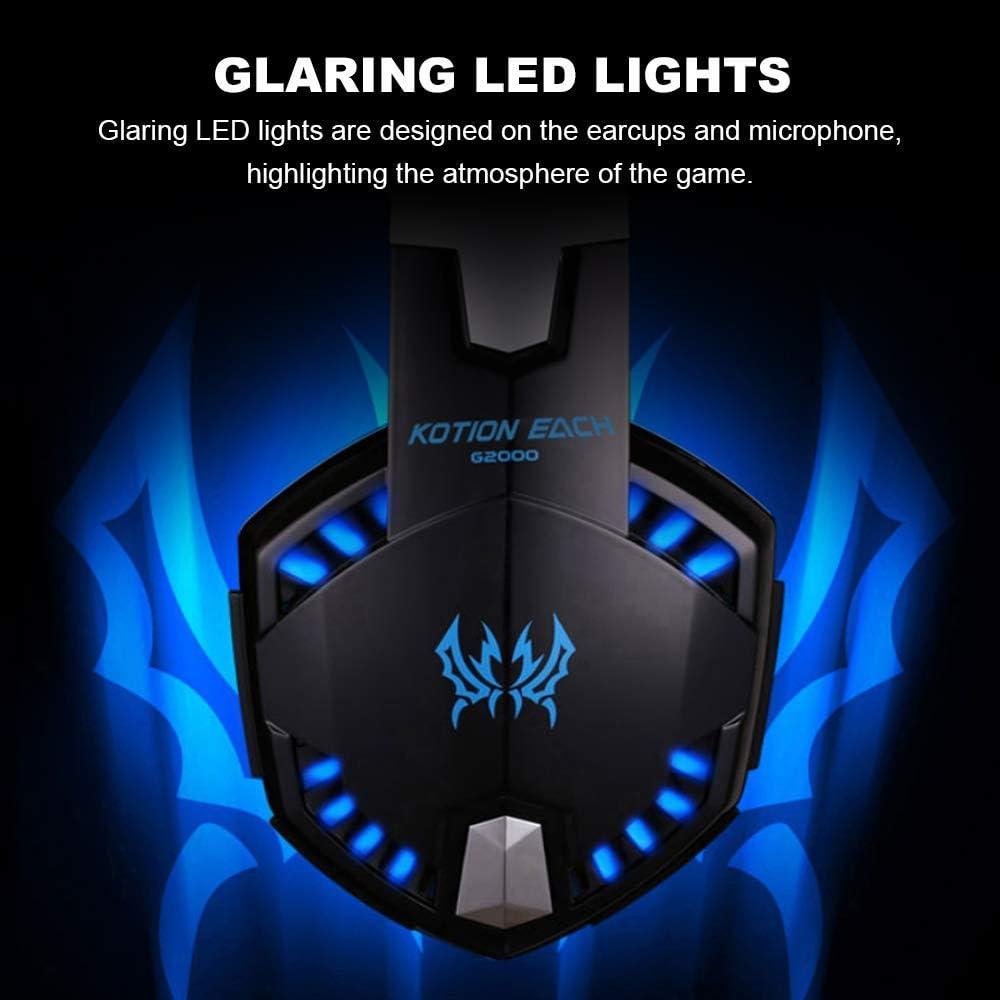 Volumen Control KOTION EACH Auriculares Gaming PS4 con Microfono Est/éreo 3.5mm Jack Luz LED Compatible con PS4 Nuevo Xbox One PC Ordenador y M/óvil
