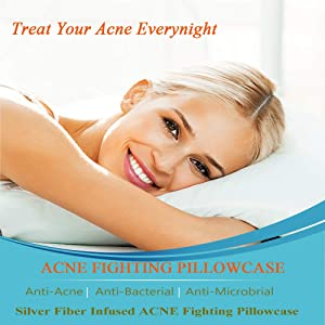 Acne Pillowcase, Silver Acne Pillow Case with Silver Technology, Silver Pillowcase Acne to Maintain Cleaner Skin While You Sleep, 2 Standard Queen Pillowcases (19.7''×30'')