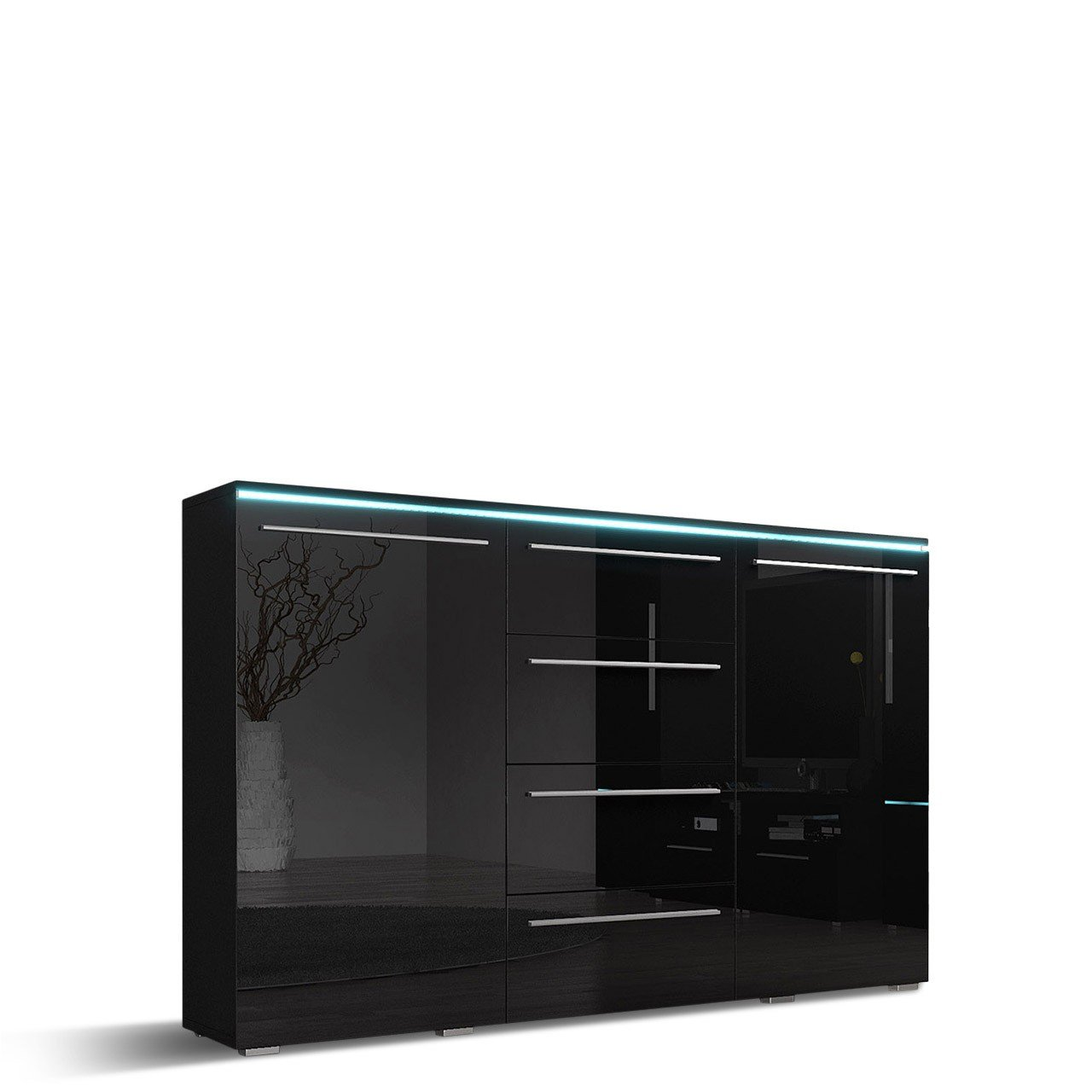 Mirjan24  Kommode Sideboard Bergamo mit 4 Schubladen, Highboard, Anrichte, Mehrzweckschrank, Wohnzimmerschrank, Schrank, Wohnzimmer (mit RGB LED Beleuchtung, Schwarz/Schwarz Hochglanz)