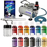 Complete Professional Airbrush Cake Decorating System with a Suction Feed Airbrush, Compressor, Air Hose and a Pack of 12 - .7 fl oz. Chefmaster Food Colors