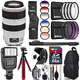 Canon EF 70-300mm IS USM Lens + 6PC Graduated Filter Set + Flash + UV-CPL-FLD Filters + Macro Filter Kit + 72 Monopod + Lens Hood + 64GB Class 10 + Backpack + Spider Tripod - International Version