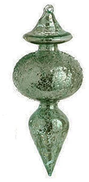 Christmas Tablescape Decor - Antique Inspired Green Blue Mercury Glass Finial Christmas Ornament