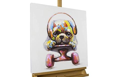 Jack und Matt 120x60cm KunstLoft/® Acryl Gem/älde Kiki Hunde Vogel Bunt Brillen Lustig f/ür Wohnzimmer original handgemalte Leinwand Bilder XXL Wandbild Acrylbild Moderne Kunst mit Rahmen