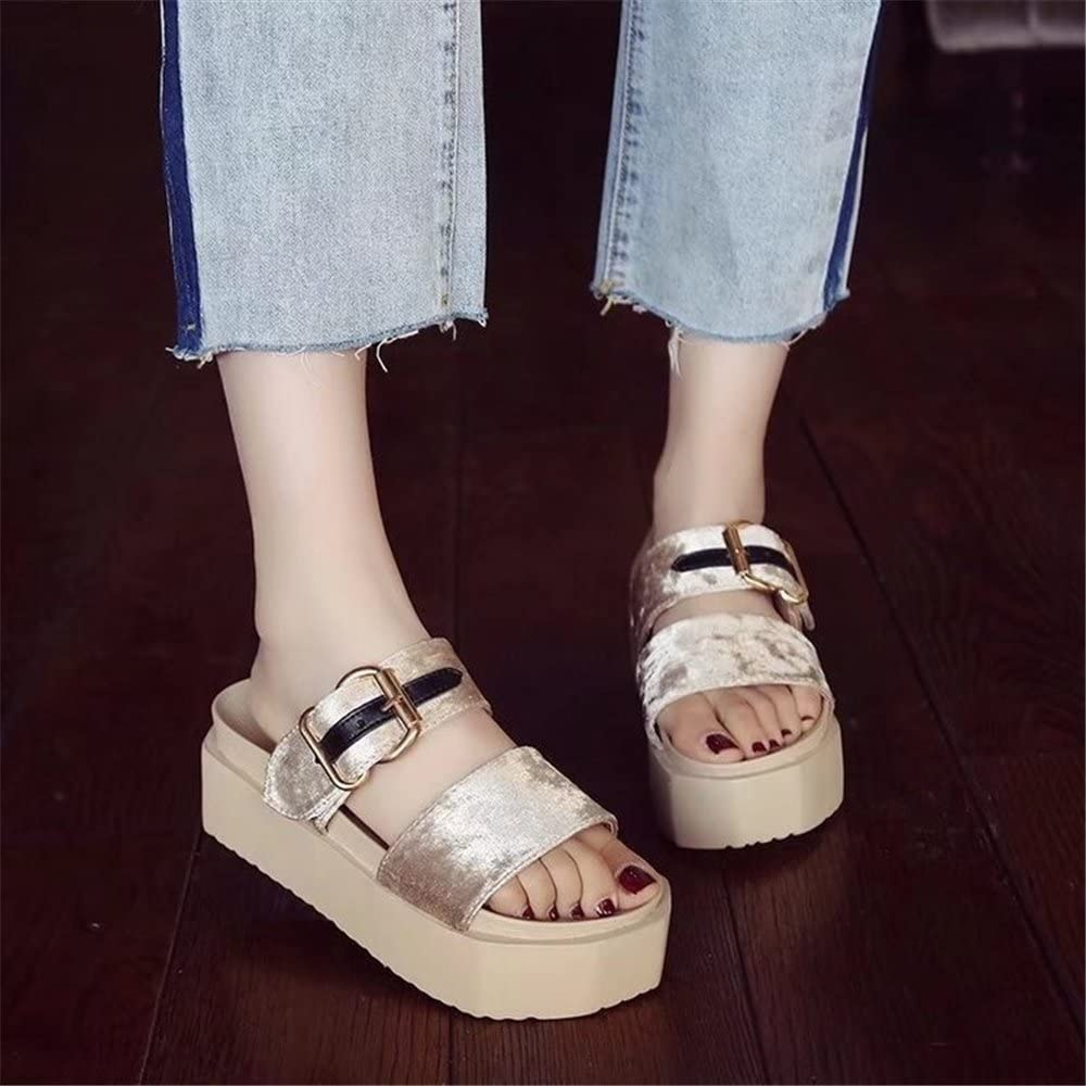 PRETTYHOMEL Womens Sandals Womens Comfort Open Toe Stud Slip On Platform Wedge Heel Sandals
