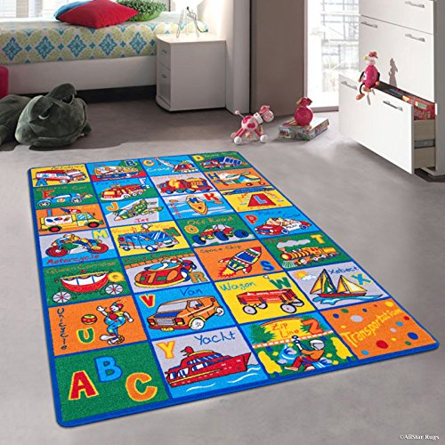 Allstar 3x5 Multicolored Kids' Educational Rectangular Accent Rug with Polychromatic Alphabet and Transportation Design (3' 3