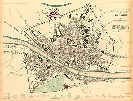 Amazon Com Florence Firenze Antique Town City Map Plan Key