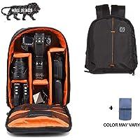 Brain Freezer Nylon, Polyester Shoulder Backpack for J DSLR/SLR Camera Lens, Canon Nikon Sigma Olympus Cameras (Black Orange)