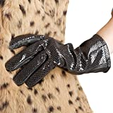 Women Lambskin Leather Serpentine Gloves-Nappaglo Lining Winter Leather Gloves