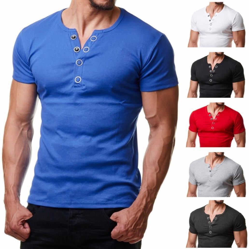 Camiseta Para Hombre, ❤️Xinantime Hombre Solid Top Blusa del Botón de los Hombres de Moda Camiseta de Manga Corta con Ajuste EN la Manga: Amazon.es: Ropa ...