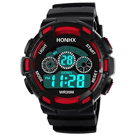Iuhan® Digital Sports Watches for Men Boys Teens,Waterproof Children Boys Digital LED Sports Watch Kids Alarm Date Watch Casual Outdoor Wrist Watch ...