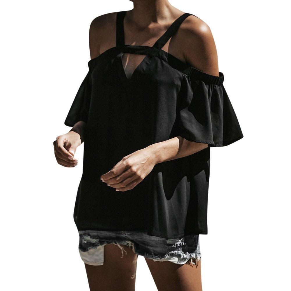 Vickyleb Women Tops Cold Off Shoulder Top Tunic V Neck Short Sleeve T Shirts Women Tops Summer Blouse Black