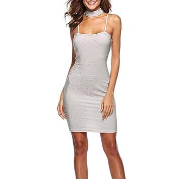 LILICAT® 2018 Vestido mini sin mangas de verano con vestido sin tirantes Vestido largo de
