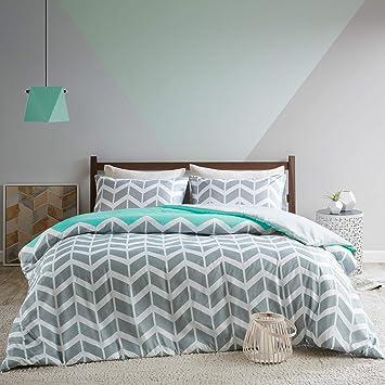 SCM Bettwäsche 200x200cm Grau Grün Mikrofaser 3-teilig Bettbezug  Kissenbezüge 50x75cm Geometrisch Chevron Nadia Ideal für Schlafzimmer