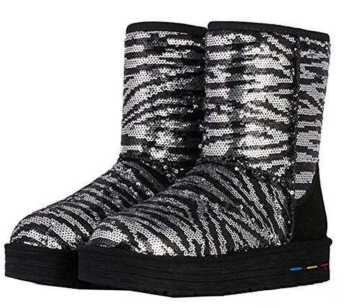 winter new Silver color snow spell women boots sequined BBqR1PF