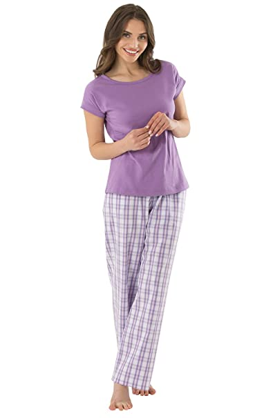 super service buy good 100% satisfaction guarantee PajamaGram Women Pajamas Set Cotton - Plaid Pajamas for Women, Purple