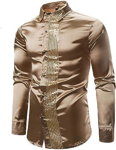 U/A Camisa de satén brillante para hombre, manga larga, con lentejuelas, para fiesta, discoteca, boda, S-2XL: Amazon.es: Ropa y accesorios