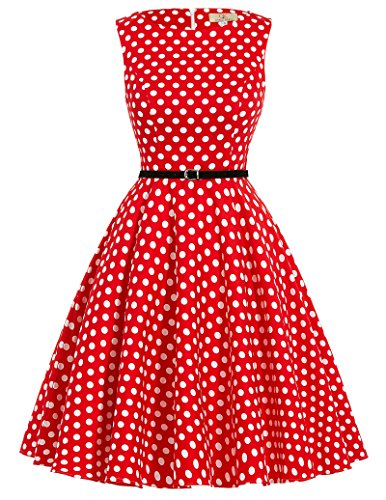 Red White Polka Dot Knee-Length Summer Vintage Prom Dresses L CL86-46