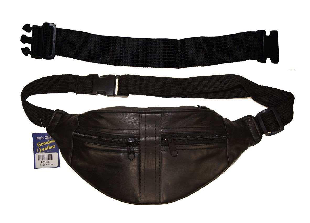 Genuine Leather Fanny Pack Waist Belt Bag Travel Pouch With 18'' Extension