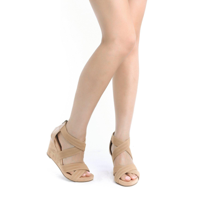 TOETOS Women's Solsoft_15 White Low Platform Wedges Back Zipper Sandals Size 8.5 B(M) US by TOETOS (Image #6)
