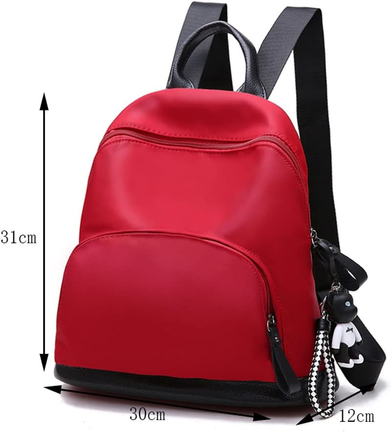 Double Shoulder Backpack Oxford Nylon Canvas Bag Personalized Leisure Travel Backpack Color : Red HUANGDA Ms