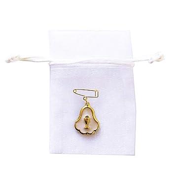 Primera Comunión blanco oro cáliz encanto broche y bolsa de ...