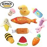 10 Pezzi cane peluche giocattolo, RoyalCare Giocattoli Interattivi da masticare cane con il suono Frutta e verdura Giocattoli per cani piccoli e medi