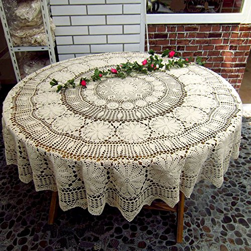 JINSHING Handmade Round 55'' Vintage White Crocheted Cotton Lace Tablecloth Doily (55 Inch)