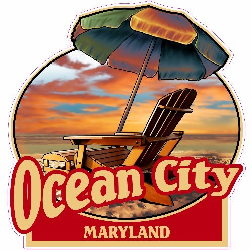 U.S. Custom Stickers Ocean City Maryland Beach Sticker, - Shops Ocean City Maryland