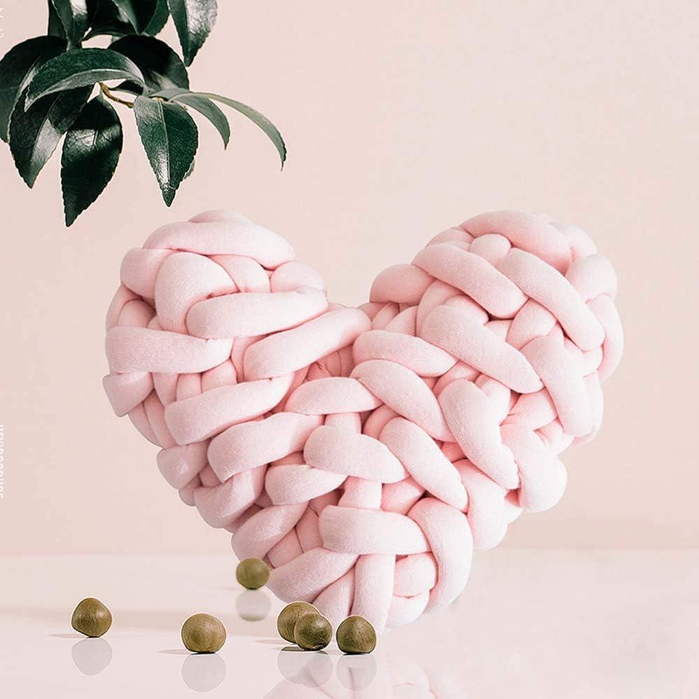 Martha Lia Soft Plush Knot Pillow Heart Shaped Cushion Decorative Home Sofa Pillows Photography Props Blush