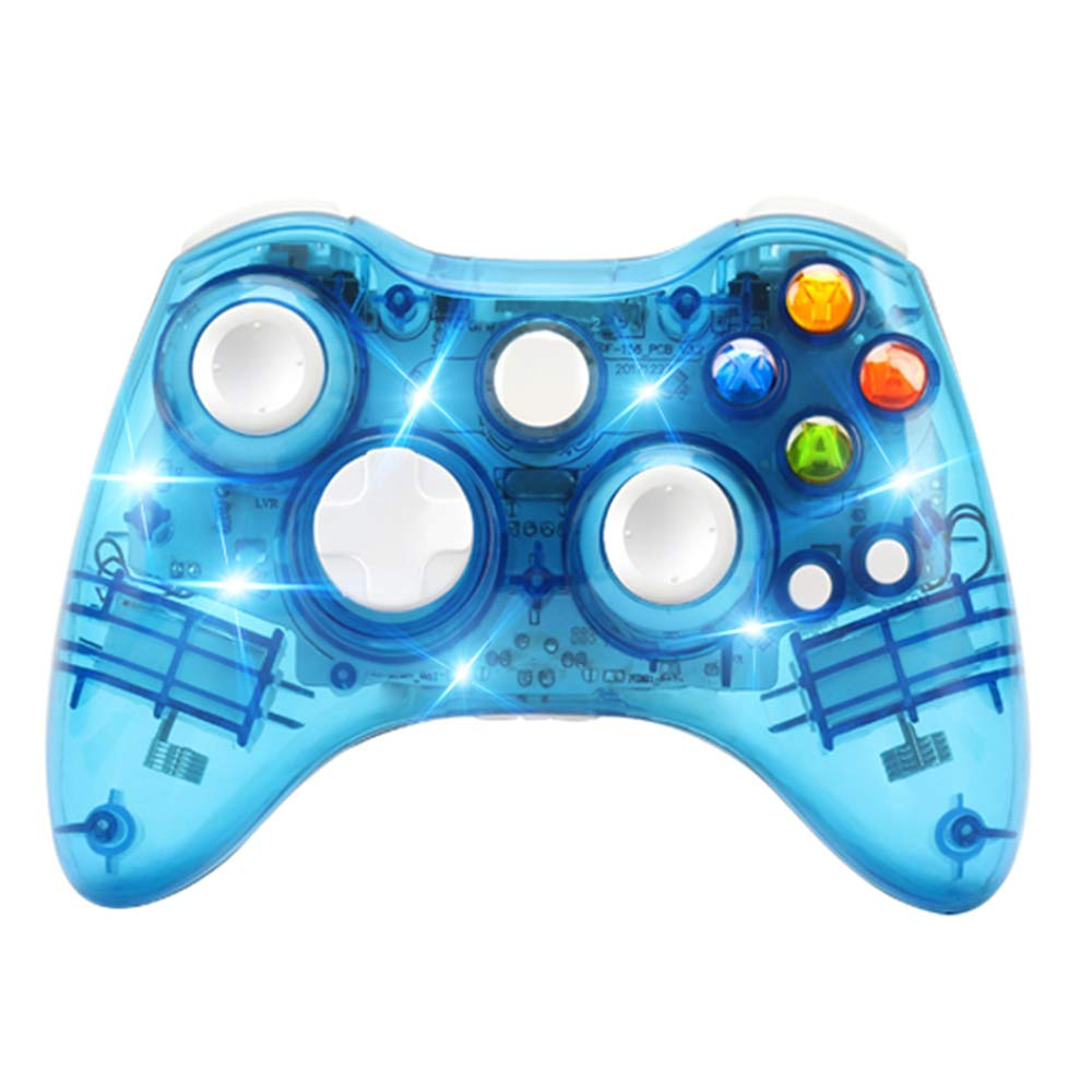 Wireless Game Controller for Microsoft Xbox 360 Console/PC Windows7/8/10-Trasparent Colorfull LED Lights (Blue)