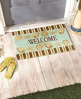Beach Coastal Nautical Theme Welcome Door Mat Rug Front Coir Doormat  (Seashells)