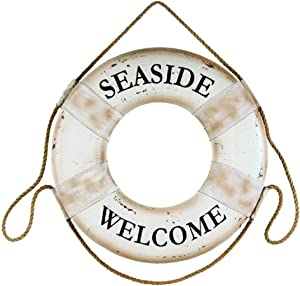 OHIO WHOLESALE, INC. Seaside Welcome White 17.5 Inch Foam Hanging Boat Life Ring Wall Plaque