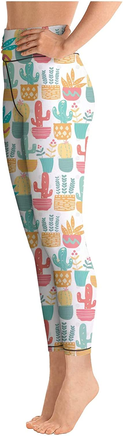 chchht Womens Yoga Pants Legging Training Cute Saguaro Cactus Colorful Printed for Workout Riding Running