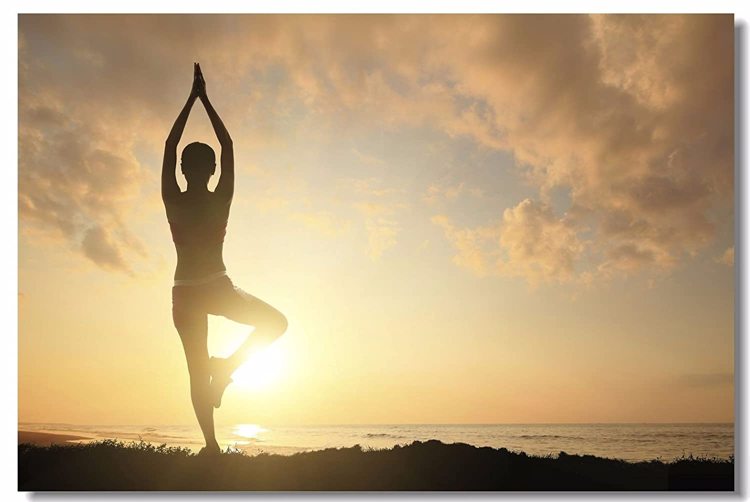 1x Poster Yoga Poses and Spirituality Exercise Meditating Women for SPA Bodybuilding Studio Home Room Hotel Office Wall Deco Prints 35.5x23.5 ...