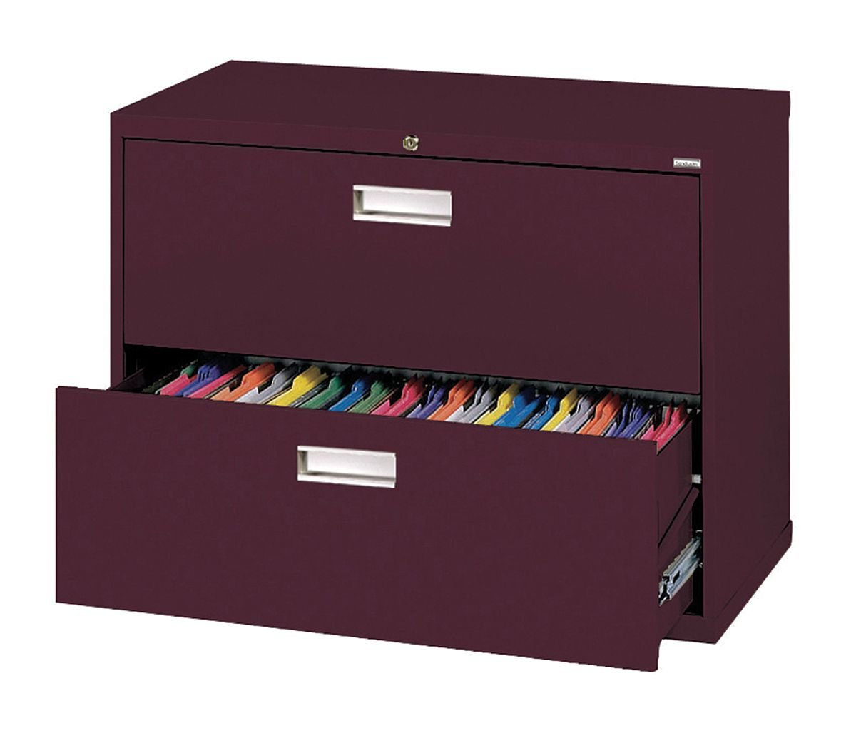Sandusky Lee LF6A362-03 600 Series 2 Drawer Lateral File Cabinet, 19.25 Depth x 28.375 Height x 36 Width, Burgundy