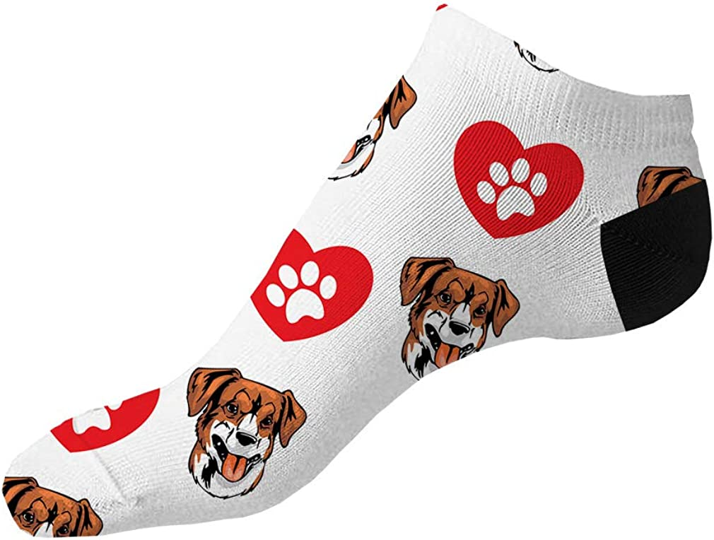 Austrian Pinscher Dog Heart Paws Pattern Men-Women Adult Ankle Socks