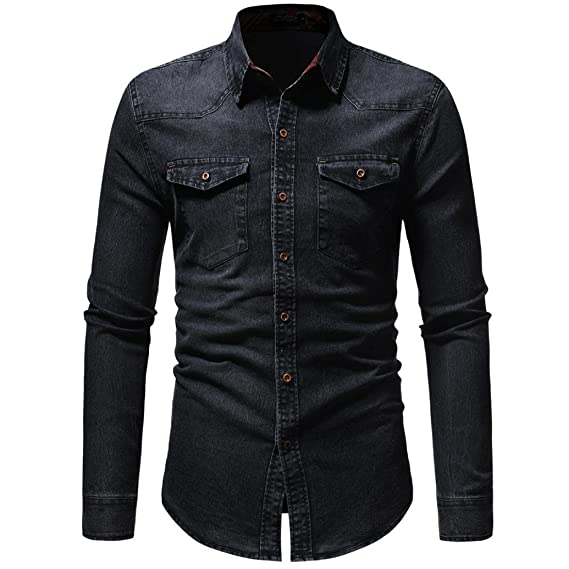 LMMVP Camisas para Hombres Moda Retro Personalidad Clásico Botón Ajustado Delgado Negocio Casual Camisetas de Manga