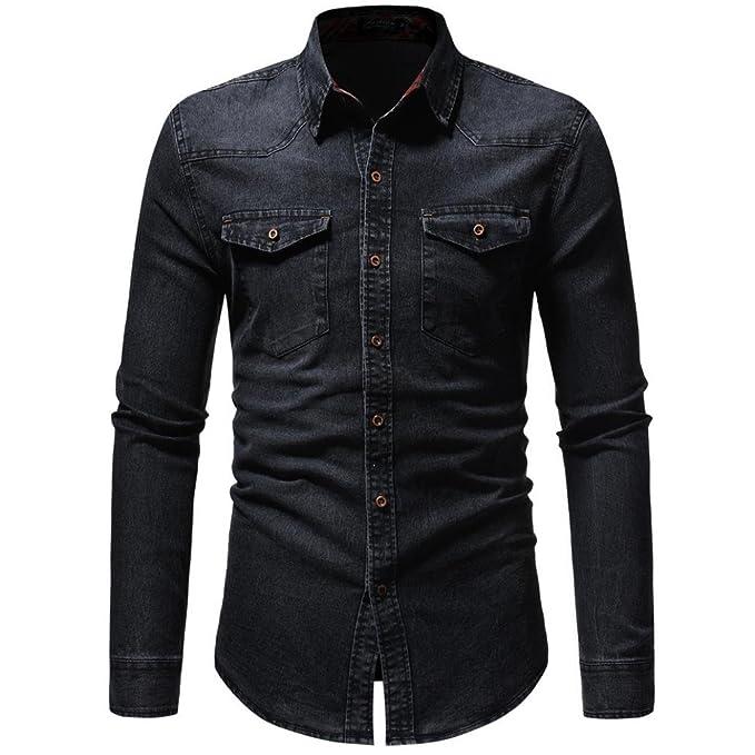 1f99a6ec2b0 LMMVP Camisas para Hombres Moda Retro Personalidad Clásico Botón Ajustado  Delgado Negocio Casual Camisetas de Manga