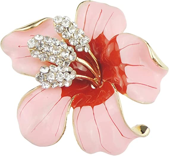 Elegante Spilla Smaltata a Forma di Giglio di Orchidea Glamour Girlz 5 cm