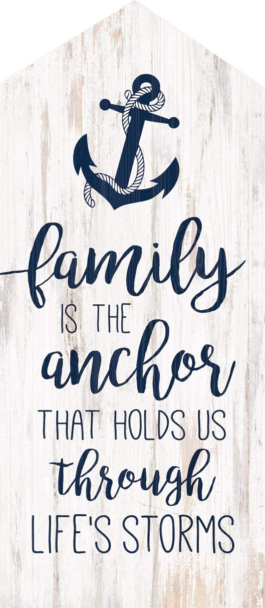 P. Graham Dunn Family is The Anchor Nautical Blue 8 x 3 Wood Decorative Tabletop House Plaque