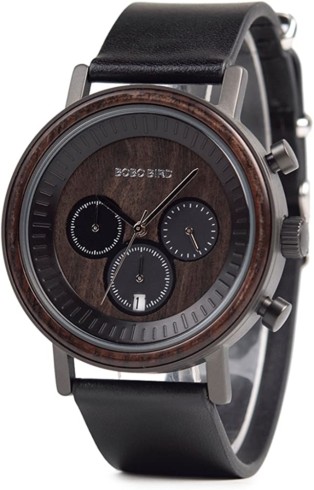 Mens Simple Luxury Sport Wooden Watches Stainless Steel Wood Date Chronograph Watch Black