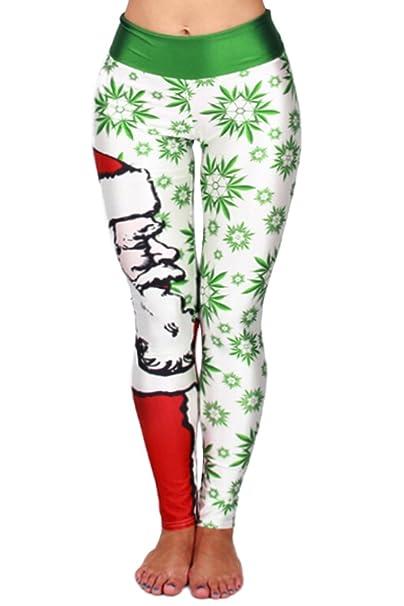 womens santa claus patterned full ankle length christmas leggings white one size - Christmas Leggings Womens