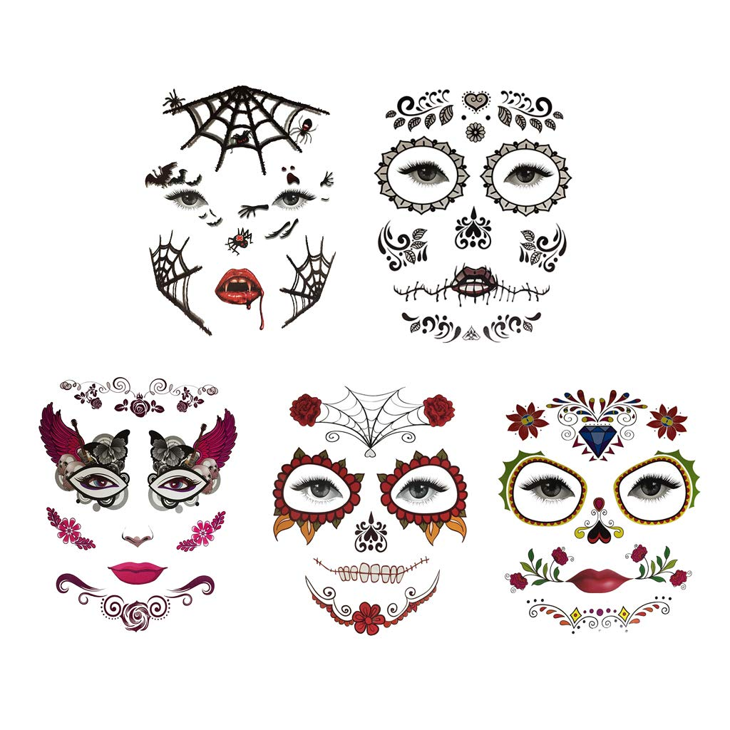 baab547be F Fityle 5/pack Day of Dead Temporary Face Tattoo Vampire Makeup Party  Costume Props Fancy ...
