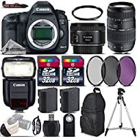Canon EOS 5D Mark III DSLR Camera + 50mm 1.8 STM Lens + 70-300 Di LD Macro Lens + Canon Speedlite 430EX III RT + 64GB Storage + Backup Battery + UV-CPL-FLD Filters - International Version