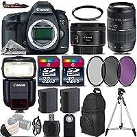 Canon EOS 5D Mark III DSLR Camera + 50mm 1.8 STM Lens + 70-300 Di LD Macro Lens + Canon Speedlite 430EX III RT + 64GB Storage + Backup Battery + UV-CPL-FLD Filters - International Version